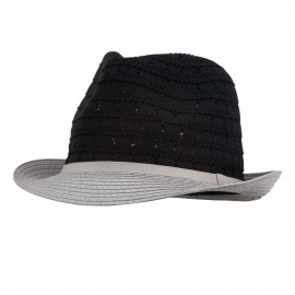 Women's Cotton Paper Braid Fedora - Black Grey