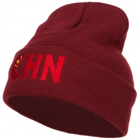 China CHN Flag Embroidered Long Beanie