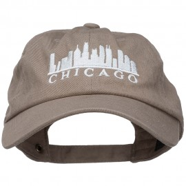 Chicago Skyline Embroidered Washed Cap