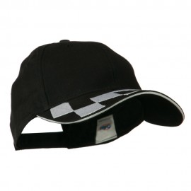 Brushed Cotton Embroidered Checker Logo Cap - Black