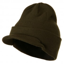 Cuff Knitted Beanie with Visor Bill - Olive