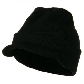 Cuff Knitted Beanie with Visor Bill - Black