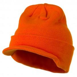 Cuff Knitted Beanie with Visor Bill - Orange