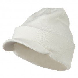 Cuff Knitted Beanie with Visor Bill - White