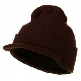 Cuff Knitted Beanie with Visor Bill - Brown