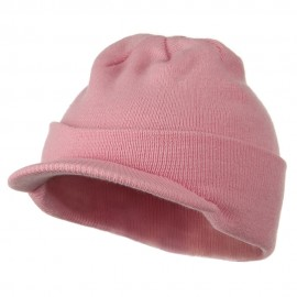 Cuff Knitted Beanie with Visor Bill - Light Pink