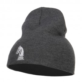 Chess Piece Kight Embroidered Short Beanie