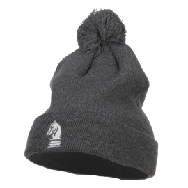Chess Piece Knight Embroidered Pom Beanie