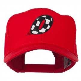 Checkered Flag Numbers Embroidered Red High Profile Cap