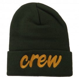 Crew Embroidered Long Knitted Beanie