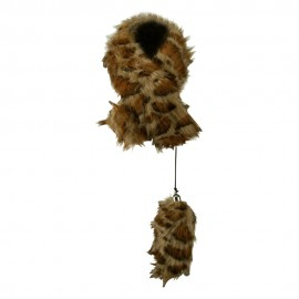 Woman's Faux Fur Slit Scarf