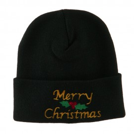 Merry Christmas Embroidered Long Beanie