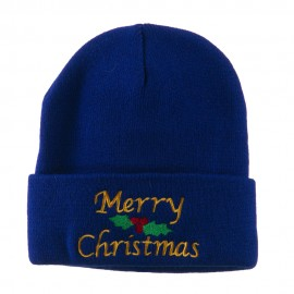Merry Christmas Embroidered Long Beanie - Royal