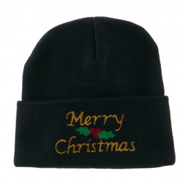 Merry Christmas Embroidered Long Beanie - Navy