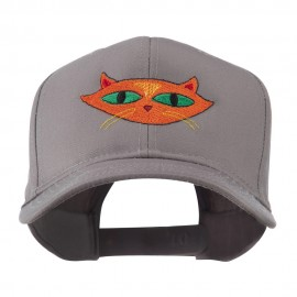 Halloween Cat with Green Eyes Embroidered Cap