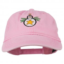 Christmas Ornament Snowman Embroidered Washed Dyed Cap - Pink