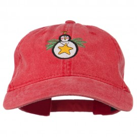 Christmas Ornament Snowman Embroidered Washed Dyed Cap - Red
