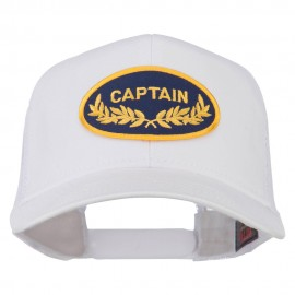 Captain Oak Leaf Military Patched Mesh Back Cap - White
