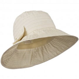 Women's Crushable Polyester Hat with Large Bow Accent - Cream
