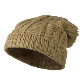 Cable Knit Hat with Pom Pom - Beige