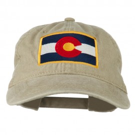 Colorado State Flag Embroidered Washed Buckle Cap - Khaki