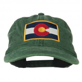 Colorado State Flag Embroidered Washed Buckle Cap - Dk Green