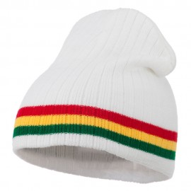 Center Striped Rasta Short Beanie - White
