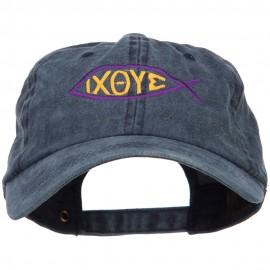 Religious Symbol of Christ Embroidered Washed Dyed Cotton Cap