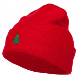 Christmas Tree Embroidered Long Beanie