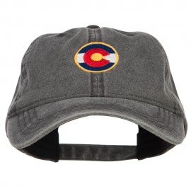 Colorado State Flag Embroidered Washed Cap - Black