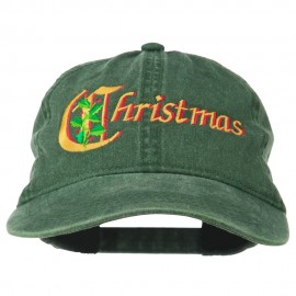 Christmas Holly Leaves Embroidered Washed Cap