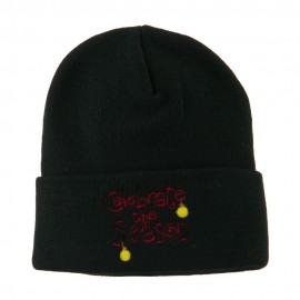 Celebrate the Season with Ornaments Embroidered Beanie