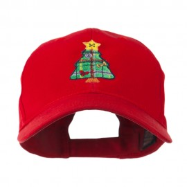 Christmas Tree with Decoration Embroidered Cap - Red