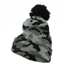 Camouflage All Over Pom Cuff Beanie