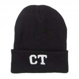 CT Connecticut Embroidered Long Beanie
