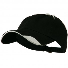 Low Profile Unstructured Cotton Washed Cap - Black White