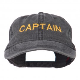 Captain Embroidered Low Profile Washed Cap - Black