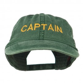 Captain Embroidered Low Profile Washed Cap - Olive Green