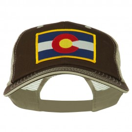 Colorado Western State Patched Big Washed Mesh Cap - Brown Beige