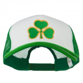 Clover St.Patrick's Day Embroidered Big Size Trucker Cap - White Kelly