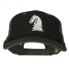 Chess Knight Embroidered Big Size Washed Mesh Cap - Black Grey
