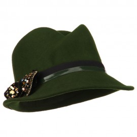 Ladies Wool Felt Bow Fedora