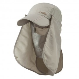 UV 50+ Folding Bill Cap with Double Flaps - Khaki