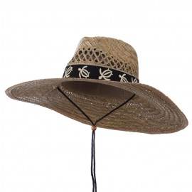 UV 50+ Designed Band Wide Brim Straw Hat
