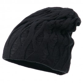 Deep Crown Distressed Reversible Beanie - Charcoal