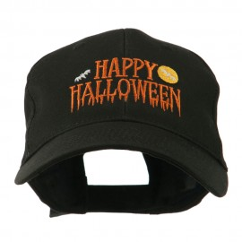 Happy Halloween Dripping Down Embroidered Cap - Black