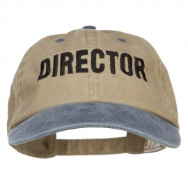Movie Director Embroidered Washed Two Tone Cap - Khaki Navy