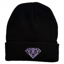 Diamond Embroidered Cuff Long Black Beanie