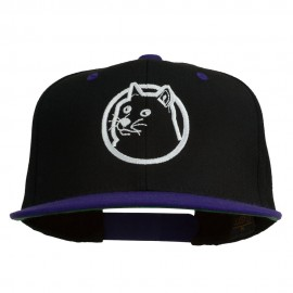 Dog Face Embroidered Flat Bill Snapback Cap