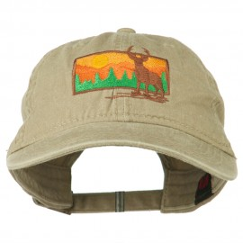 Deer Hunting Silhouette Embroidered Washed Cotton Cap - Khaki